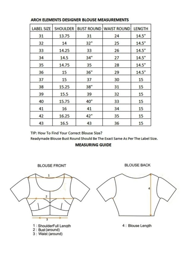 woman blouse size chart
